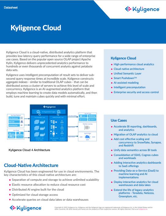 Kyligence Cloud 4 Datasheet